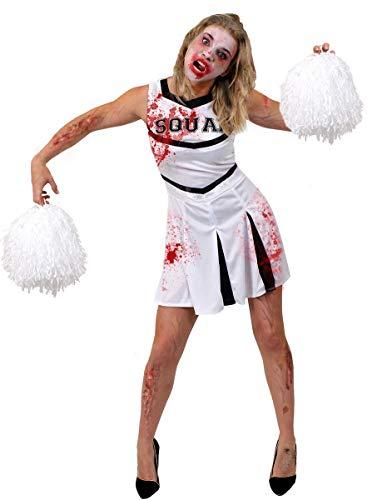 ILOVEFANCYDRESS WEIßE Zombie Cheerleader KOSTÜM + Jumbo POM POMS + GESICHTSFARBE + GEFÄLSCHTE Blut - PERFEKT FÜR Halloween Damen KOSTÜM KOSTÜM Frauen AMERIKANISCHE JUBELNFÜHRER UNIFORM (KLEIN) (Cheerleader Kostüm Frauen)