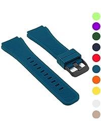 StrapsCo Bracelet en Caoutchouc de Silicone pour Samsung Gear S3 avec une Boucle Noir Mat