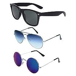 Zyaden COMBO of Wayfarer, Aviator, Round Sunglasses (Combo-259