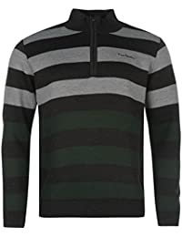 Pierre Cardin Hommes 1/2 Zip Top Haut Casual Jumper Tricote Pull Manche Longue