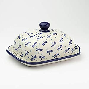 Polish Pottery Butter Dish Dragonfly