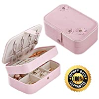 Sunblue Women Jewelry Box, Travel Portable Small Faux Leather Jewelry Organizer for Necklaces Earrings Rings Bracelets Lipstick Makeup and Accessories 2 Layers Jewelry Storage with Mirror (Pink)