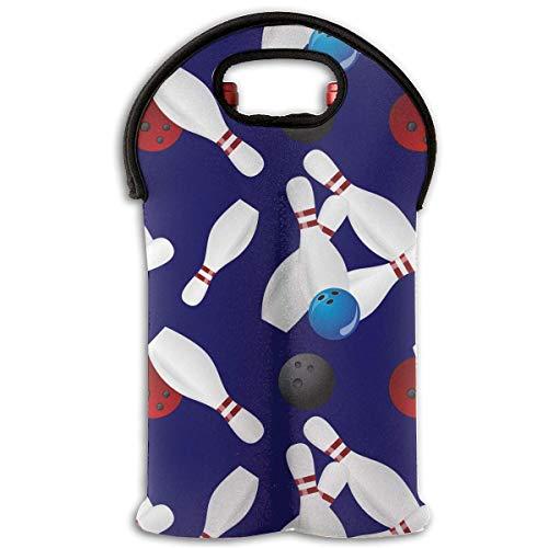Bowling Ball Two Bottle Wine Carrier Tote Bag Neoprene Wine/Water Bottle Holder Keeps Bottles Protected