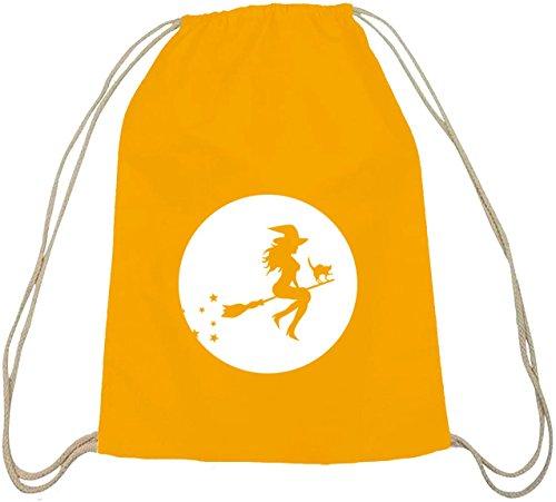 Halloween Grusel Kostüm natur Turnbeutel mit Halloween - Hexe Motiv gelb natur