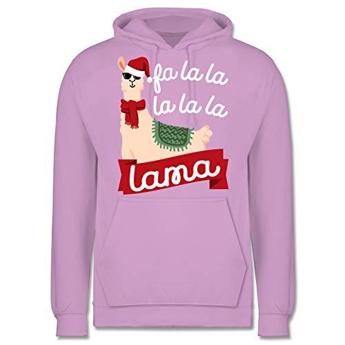 Weihnachten & Silvester - Falalala lama - weiß - XL - Lavendel - JH001 - Herren Hoodie