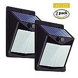 40 LED Foco Solar para Exteriors, Luces Solares 1500mAh Batería, Lámpara Jardin con Sensor de Movimiento de IP65 Impermeable Garaje, Camino, Balcón, Escalera, Muros, Vallas Exteriores - 2 PACK