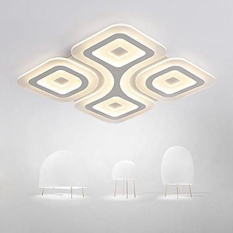 lyxg ultradünnen kreative Wohnzimmer quadratisch Lichter Deckenleuchte Lampen Licht modernen minimalistischen Wohnzimmer Hall-Buch (500mm * 500mm * 40mm) 76W Nº de polos la
