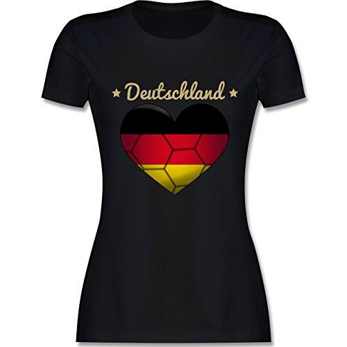 Handball WM 2019 - Handballherz Deutschland - M - Schwarz - L191 - Damen T-Shirt Rundhals