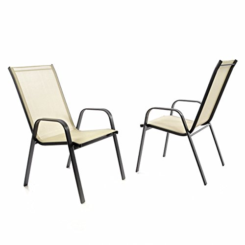 Nexos 2er Set Gartenstuhl Stapelstuhl Balkonstuhl Hochlehner Stahl-Rahmen schwarz Textilene creme...