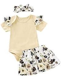 K-youth Ropa Bebe Niña Verano Niña Peleles Recién Nacido Bebe Monos de Manga Corta Mameluco + Floral Vestido de Tutú Falda + Venda de Pelo Ropa Bebé