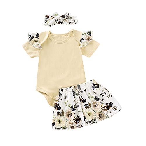 DWQuee 3PCS Baby Girls Clothing Set,Solid Jumpsuit Romper+Floral Print Skirts+Headbands