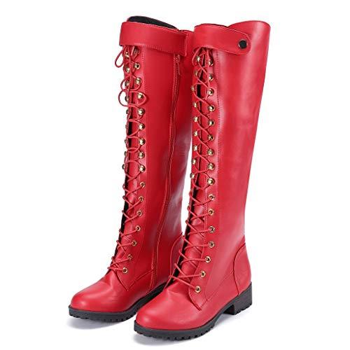 TianWlio Frauen Herbst Winter Stiefel Schuhe Stiefeletten Boots Stiefel Feste Metallniete Dicke Super High Heel Stiefeletten Runde Zehen Schuhe rot 39