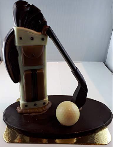 09#021520 Schokoladen Golf Set, auf ZARTBITTER ODER VOLLMILCH Platte STEHEND ODER LIEGEND, ca.450 g. Golfer, Golfspieler, Geburtstag, Geschenke, Geschenk,