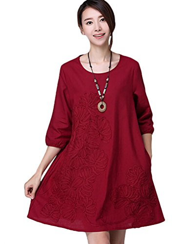 MatchLife Femme Casual Vintage Broderie Floral Robe Style1-Vin Rouge