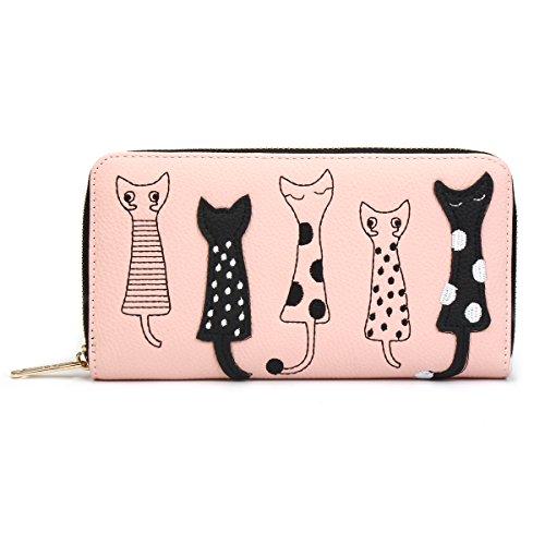 OURBAG Damen Katze Geldbörse Geldbeutel Portemonnaie Portmonee Leder Brieftasche für Mädchen Rosa -