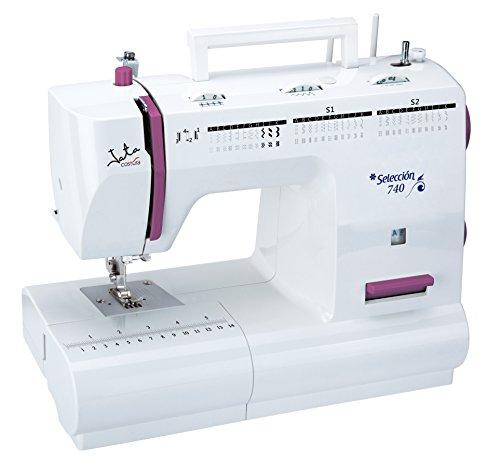 Jata MC740 Máquina de Coser con 66 diseños de Puntada y Cambio rápido de prénsatelas, PVC, Blanco con Detalles en Rosa, MC740-Máquina