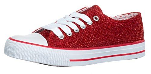 Brandsseller Damen Sneaker Glitzer-Look Freizeitschuh Schnürer Farbe: Rot - Größe: 38