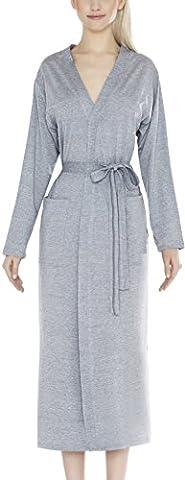 m.Lyra Damen Nachtwäsche Morgenmantel aus Viskose LYNN (grau, S)