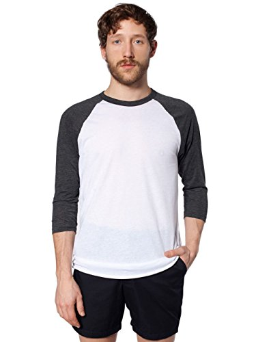 American Apparel Unisex Poly-Cotton Baseball Raglan Tee (BB453) - White / Heather Black - X-Large -