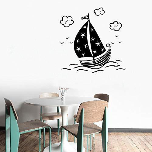 zhuziji Wandtattoo Cartoon Segelboot Wandaufkleber Für Kinder Schlafzimmer Innen Kunst Wandbild Tapete Removable Home Decor Desi weiß 43x42 cm