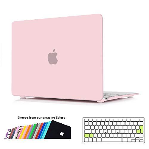 ineseon custodia macbook 12 pollici, plastica cover rigida duro case shell e eu versione trasparente tastiera copertina per macbook 12 con retina display modello a1534, quarzo rosa