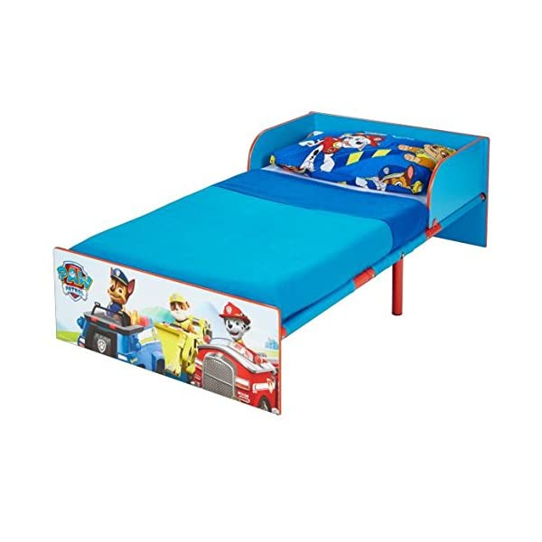 Paw Patrol Kids 505PWP Toddler Bed by HelloHome - Red/Blue Paw Patrol Drift off dreaming with your favourite Paw Patrol characters. Perfect size for toddlers, low to the ground with protective and sturdy side guards to keep your little one safe and snug. Fits a standard cot bed mattress size 140cm x 70cm, mattress not included. Part of the Paw Patrol bedroom furniture range from HelloHome 2