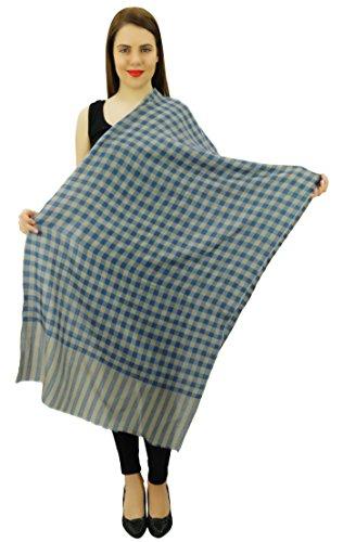 Cachemire Les Femmes De Soie Châle Foulard Volé La Tête Du Cou Envelopper Écharpe Hijab Beige et Bleu