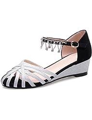 L@YC Mujeres Cuña Zapatos De Cuero Cabeza Abajo La Palabra Hebilla Tamaño Código Hollow Sandalias De Diamantes