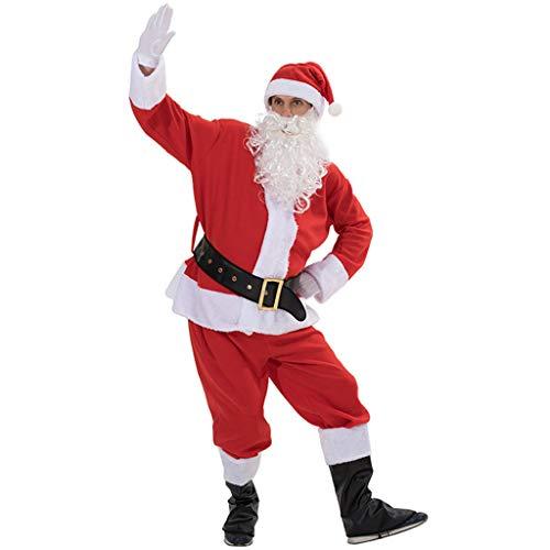 TIREOW Erwachsene Weihnachtsmann Weihnachten Bühne Kostüm Weihnachtsmann Ausdruck Cosplay Kleidung Requisiten Langarm Spielanzug Top Hose Männer Junge Partei Bar