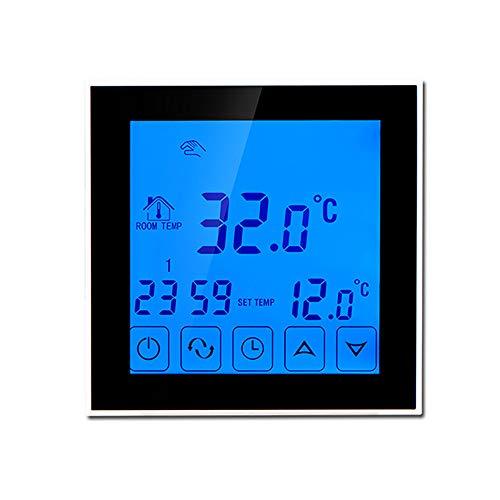 Zach-8 Intelligenter Thermostat, Touch Digital Thermostat Für Elektrische Fußbodenheizung Mit Temperaturkalibrierung & Frostschutzfunktion Geeignet Für Den Innen- / Bodentemperatur,Schwarz