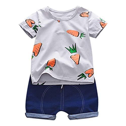 Junge Baby Kurzarm Set Karotten Print T-Shirt Top + einfarbige Shorts zweiteiliges Set (1-3 Jahre)(Grau, 100/L) - Print T-shirt Top Hat