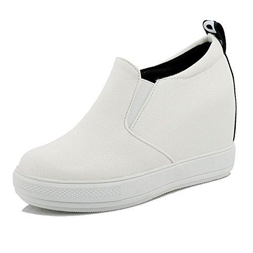AgooLar Femme à Talon Haut Couleur Unie Tire Matière Souple Rond Chaussures Légeres Blanc
