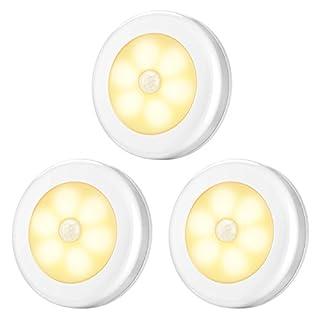 AMIR Nachtlicht mit Bewegungsmelder, LED Bewegungsmelder Licht, Auto ON/OFF Nachtlicht, Batterie-Powered Treppen Licht, Schrankleuchten, Schrank Lichter für Flur, Schlafzimmer (Warmes Weiß)