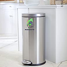 Parasnath Stainless Steel Plain Pedal Dustbin, Plain Pedal Garbage Bin with Plastic Bucket