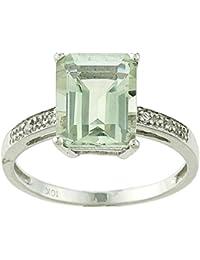 Oro blanco de 10K anillo de amatista verde y diamante