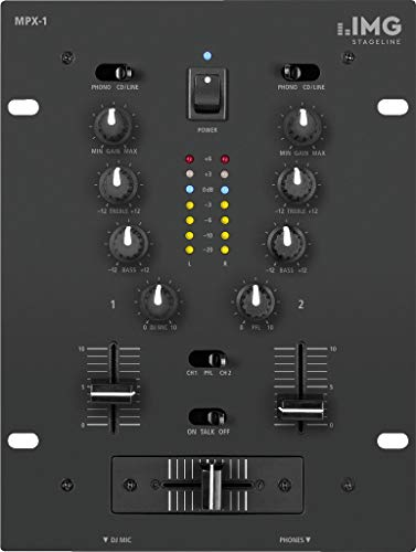 IMG Stageline MPX-1/BK Stereo-DJ-Mischpult, 2 Eingangskanäle, schwarz - Dj-powermixer