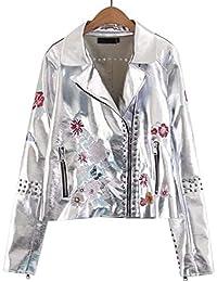Biker Jacket Mujer Elegantes Manga Larga De Solapa Slim Fit Bordado Chaqueta Cuero Flores Primavera Otoño