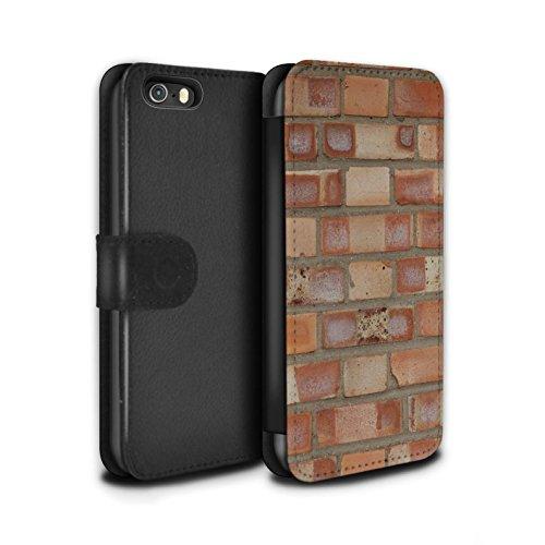 STUFF4 PU-Leder Hülle/Case/Tasche/Cover für Apple iPhone 5/5S / Feuerstein/Stein Muster / Mauerwerk Kollektion Lückenhaft/Rot