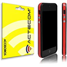 80007aa2226 cogac ACTECOM® Funda Bumper para iPhone SE 5 5S Rojo Bordes Negros Carcasa  Protectora
