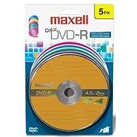 Maxell 638033 متعدد الألوان سوبر أرشيفيكال لايف لتخزين بيانات قيمة - R Write Once DVD-R 4. 4 جيجابايت بطاقة 5 قرص