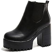 Lady Daily Zapatillas Botines de Mujer con Tacon de 2018 Cuero Casuales Zapatillas de Vestir
