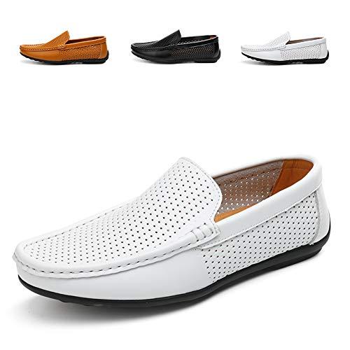 AARDIMI Herren Mokkasins Slip on Casual Männer Loafers Frühling und Herbst Herren Mokassins Schuhe aus echtem Leder Herren Wohnungen Schuhe schwarz (40 EU, Z-Weiß-1324)