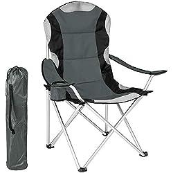tectake Chaise de Camping Fauteuil Pliable avec Porte-Boisson et Sac de Transport - Rembourrage en Mousse (Gris) Ø Cadre: Environ 19 mm