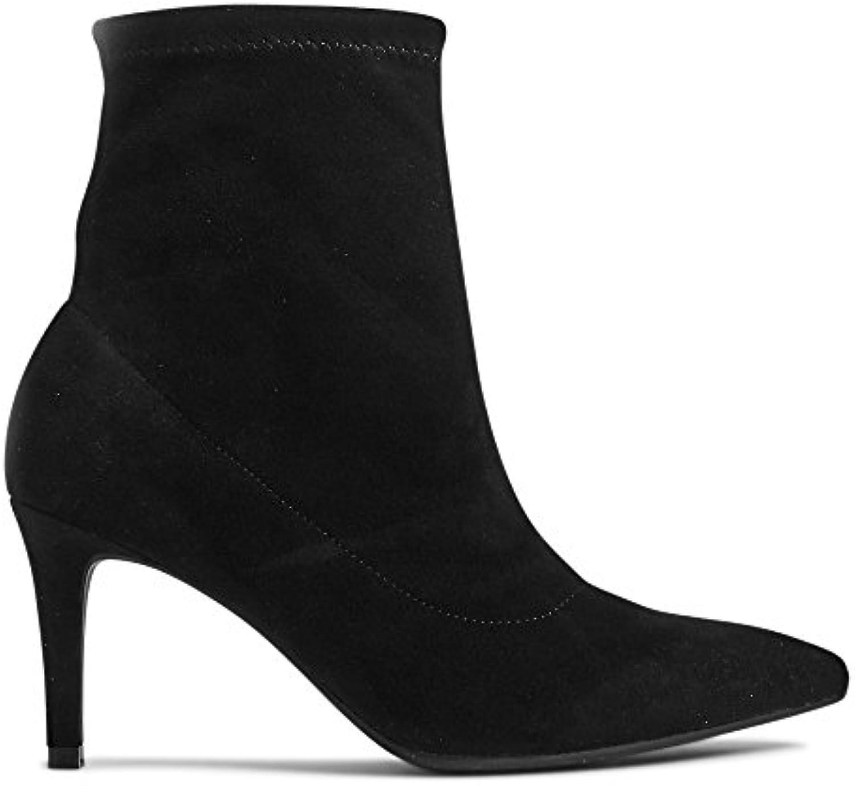 The Outlet London T025922B - Sandalias con cuña de Sintético Mujer, Color Negro, Talla 37 1/3