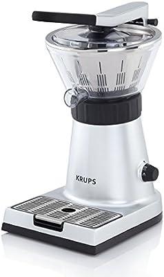 Krups Citrus Press ZX7000 - Exprimidor con tapa y clip para sujetar cítricos, 130 W de potencia y filtro de pulpa de inox, compatible con lavavajillas
