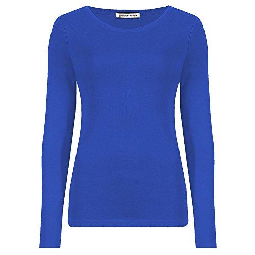 Janisramone Damen-Shirt mit Rundhalsschnitt, langärmelig, einfarbig Königsblau