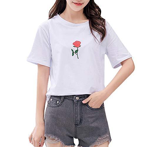 T-Shirt,Honestyi 2018 Neueste Modell Limited Edition Damen Drucken Brief'SUPER Bluse T-Shirt Kurzarm Beiläufig Lose Einfarbig Tops blusen Tops Sweatshirts 2 Farben (XL, Weiß-218)