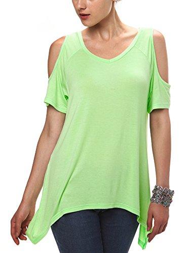 Urbancoco Damen Vogue Schulterfrei unregelmäßige sidetale Tunika Top Shirt candy grün