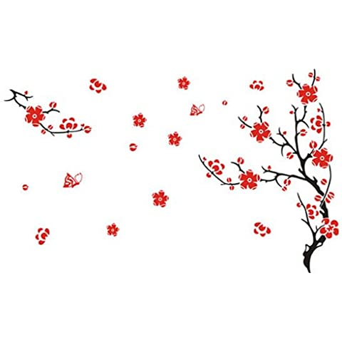 Red Blossom Flowers Tree Removable Wall