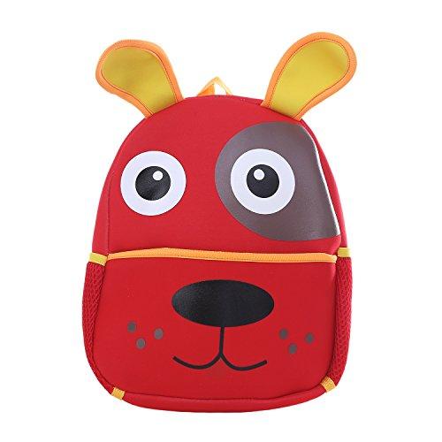 DonDon Kinderrucksack für Mädchen und Jungen Tiermotiv Hund rot 33 x 26 x 13 cm (Die Sie Vordere Öffnen Mini)